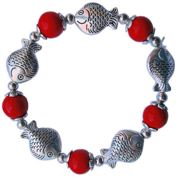 Браслет на Руку Рыбки Изобилия с Красными Коралловыми Бусинами, Бижутерия Браслеты