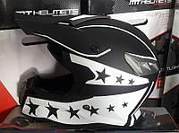 Шлем кроссовый Чёрно белый Black Star + текстильная маска