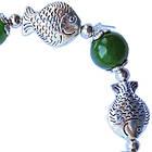 Браслет на Руку Рибки Достатку з Зеленими Нефритовими Намистинами, Біжутерія, фото 5