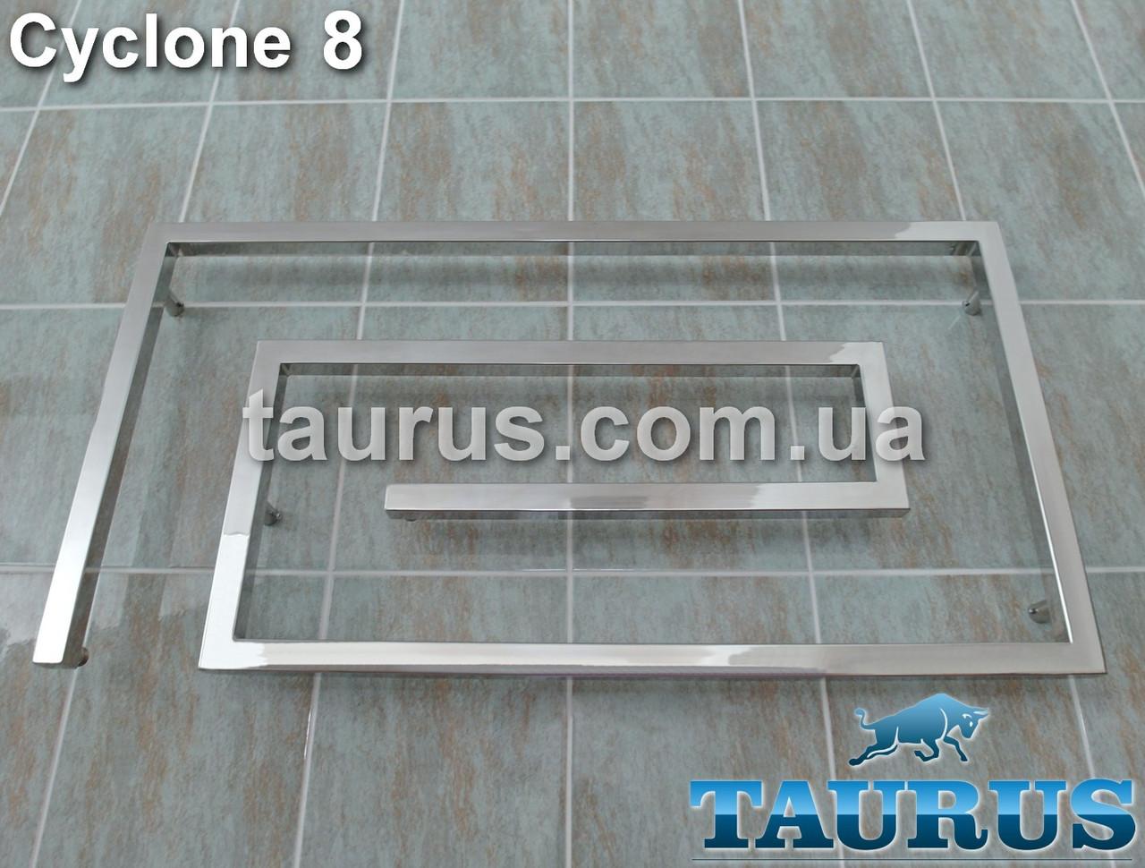 Широкий, стильный дизайн-полотенцесушитель Cyclone 8 /510х1100 от TAURUS. Квадратные трубы 30х30