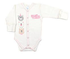 Боди для новорожденных Veres Beary much pink интерлок молочный