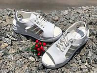 Босоножки женские без каблука кожа белые Uk0627