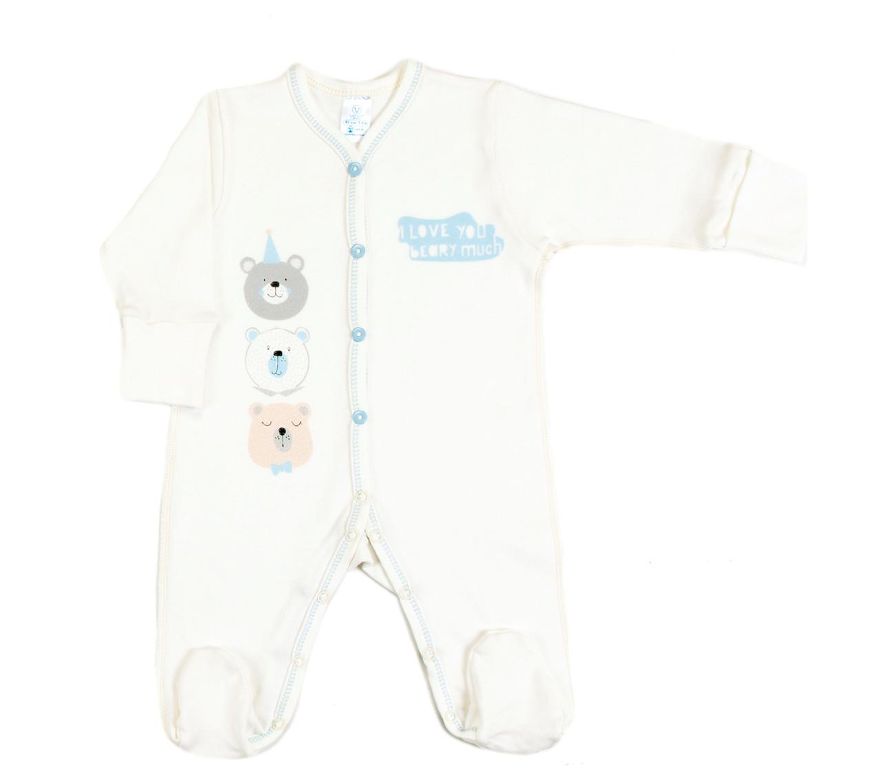 Комбинезон для новорожденных Veres Beary much blue интерлок молочный