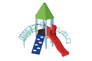 Детский комплекс Башня с пластиковой горкой. КД224