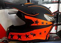 Шлем кроссовый Чёрно оранжеый Black Star + текстильная маска
