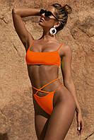 Раздельный купальник с чашечками, оранжевый, фото 1