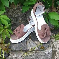 Босоножки без каблука женские замша кофейные AL0198