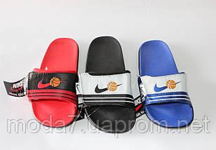 Шлепки детские Nike на мальчика синие реплика, фото 3