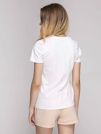 Футболка женская белая для йоги  95% хлопок 5% ликра, фото 2