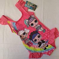 Купальник слитный детский размер 36 и 28 цвет розовый и голубой