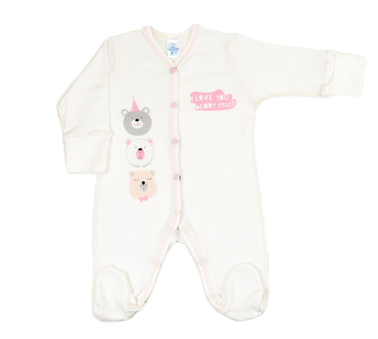 Комбинезон для новорожденных Veres Beary much pink интерлок молочный