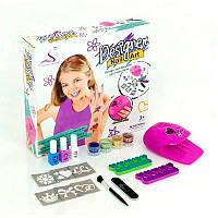 Детский набор для маникюра, сушка, лаки, блестки, тату, 87025