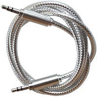 Аудио кабель AUX , штекер 3.5 jack стерео - штекер 3.5 jack стерео, серебристый 1м