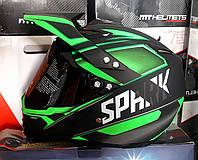 Шлем кроссовый  чёрно зелёный матовый Spark c тёмным визиром