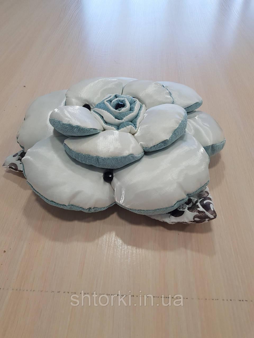 Подушка РОЗА молочная с бирюзой