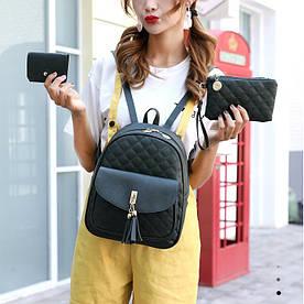 Черный женский рюкзак 3 в 1