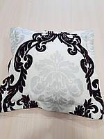 Подушка Молочная с Черным и серым рисунком