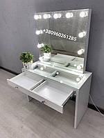 Визажный стол с двумя ящиками белый