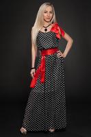 Длинное летнее платье в горох черное, фото 2