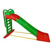 Детская пластиковая горка (Зелено-красная), спуск 243 см. Долони