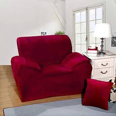 Чехол на Диван 3-х местный эластичный микрофибра-замш Бордовый, фото 3
