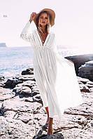 Парео пляжная туника белая с пояском и кружевом