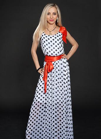Длинное женское летнее платье в горох белое, фото 2