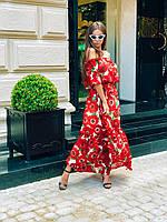 Платье в пол из шифона в цветах