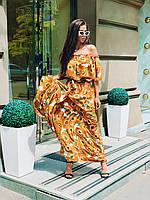 Длинное летнее платье в пол из шифона