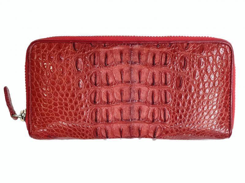 Кошелек женский из кожи Крокодила 19,5x10x2,5 см 1020. ZAM 11 T Red