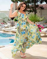 Платье летнее длинное в пол цветочный принт Большого размера Желтый