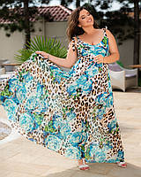 Платье летнее длинное в пол цветочный принт Большого размера Синий
