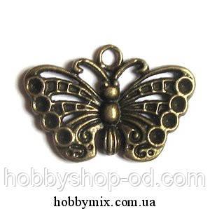 """Метал. подвеска """"бабочка"""" бронза (2,5х1,7 см) 6 шт в уп"""