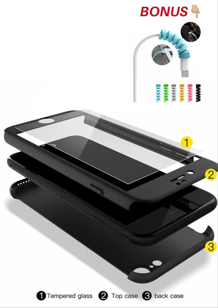 Чехол 360 для IPhone 6 /6s  стекло в подарок , black matte