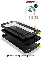 Чехол 360 IPhone 6 /6s  + стекло  подарок , black matte