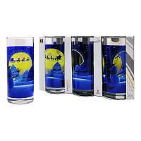 Набор новогодних стеклянных стаканов 6 шт 270 мл для сока, воды, молока Christmas Moon UniGlass