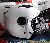 Шлем полулицевик белый JeiKei с очами
