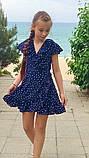 Летнее нарядное детское платье на запах,размеры:134,140,146,152., фото 2