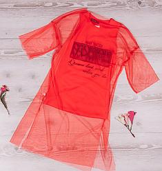 Красное платье с сеткой для девочки турецкого производства