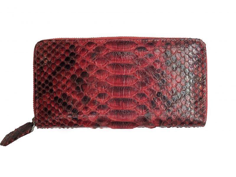 Красный женский кошелек из кожи Питона 20х10,5 см 2821g. PT 11 Belly Red