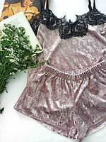 Пижама велюровая женская майка и шорты 016/1 темный-персик
