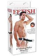 "Страпон мужской с вибрацией - Fetish Fantasy 8"" Vibrating Hollow Strap-On Black, фото 1"