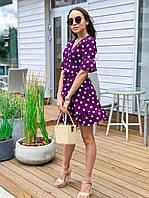 Платье женское нарядное короткое на запах с рукавами до локтя в горох
