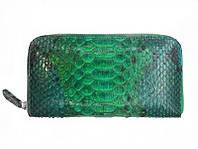 Зеленый женский кошелек из кожи Питона 18,5х9 см 2821b. PTWI 11/15 Green, фото 1