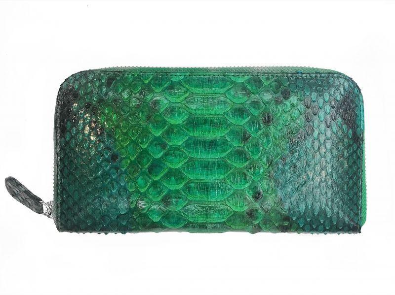 Зеленый женский кошелек из кожи Питона 18,5х9 см 2821b. PTWI 11/15 Green