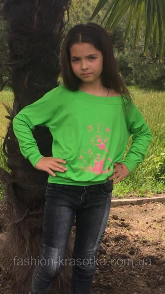 Модный детский трикотажный свитшот,размеры:134,140,146.