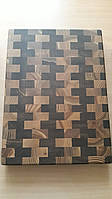 Разделочная доска торцевая Шахматка натуральная деревянная Ясень 29х38х4 см, фото 1