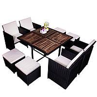 Комплект садовой мебели плетеной из ротанга и акации CUBE