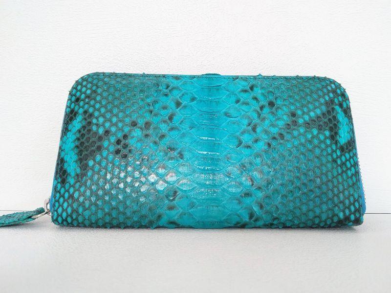 Голубой женский кошелек из кожи Питона 18,5х9 см 2821d. PTWI 11/51 Turquise