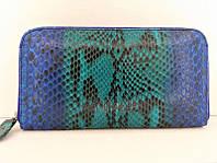 Женский кошелек из кожи Питона 18,5х9 см 2821c. PTWI 11/15 Blue, фото 1